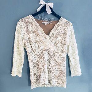 | CABI | Gorgeous lace sleeve blouse