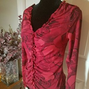 Express red v-neck blouse with rose print