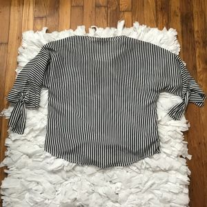 Maeve Striped Blouse with Bow Detail Sleeves Sz S