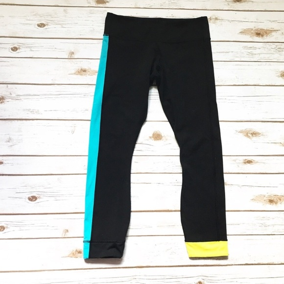 9051e583f3a159 lululemon athletica Pants - Lululemon Black wunder under color block  Leggings