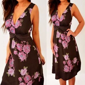 The Limited Brown Pink Green Chiffon Dress S