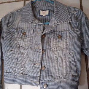 Forever 21 striped denim jacket small