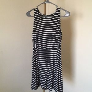Black and a White Striped Dress