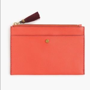 J. Crew Leather Clutch in Bright Persimmon