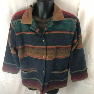 G H Bass and Co wool Coat Sz Small Native Pattern