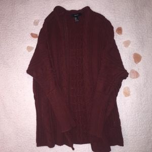 Maroon Forever 21 Cable-Knit Cardigan