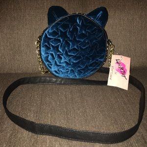 NWT Betsey Johnson teal velvet cat purse