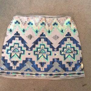 Express Aztec print sparkly sequin mini skirt xs