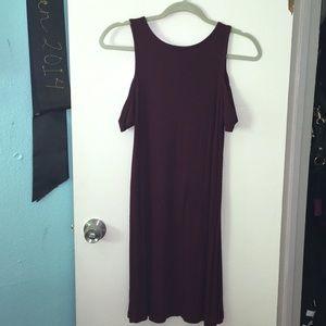 Forever 21: Burgundy Off the Shoulder Dress