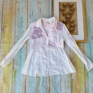 Free People White Patchwork Button Down Shirt M