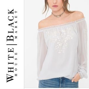 Beautiful WHBM off the shoulder embroidered blouse