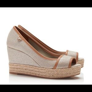Plata and Royal Tan Majorca Linen Wedge Shoes