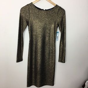 NWT Alice & Olive Golden Metalic Bodycon Dress