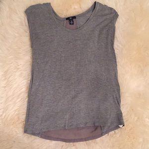 Gap Top T Shirt Gray Sheer Short Sleeve XS