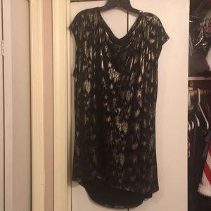 Black, Gold, Silver Shimmer Dressy Top Blouse