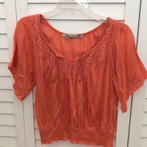 American Rag blouse slits on shoulder
