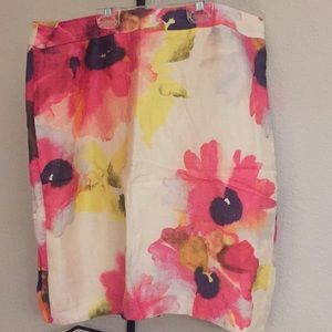 Floral linen pencil skirt from LOFT