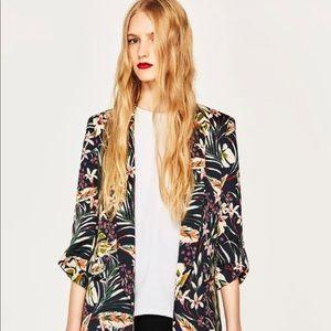 Zara Floral Relaxed Blazer
