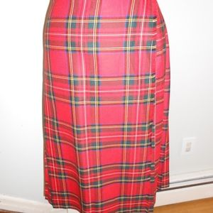 Red Holiday Plaid Scottish Style Pleated Skirt