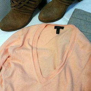 J. Crew peach/tangerine V-neck sweater