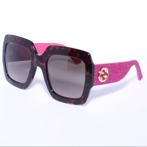 Gucci GG0102S havana glitter pink/brown
