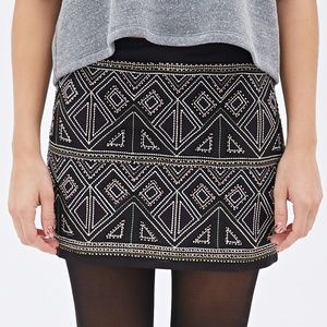 Forever21Black Sequined Geo-embroidered Mini Skirt