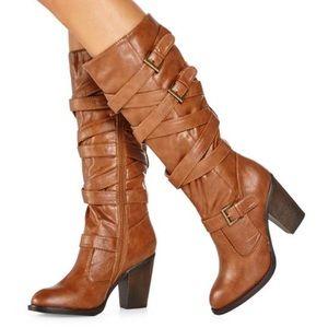 Justfab Debrina buckle boots in Cognac