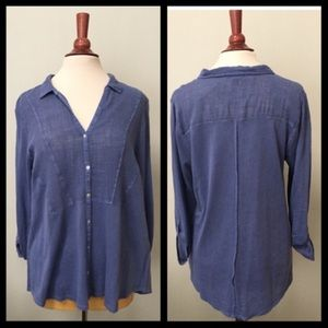 Lucky Brand Blue V Neck Top 1X - NEW!!!