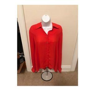 Cynthia Rowley Orange Button Down Blouse