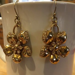 J.Crew gold earrings with CZ embellishments