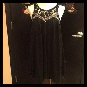 Flowy Black Midi Dress