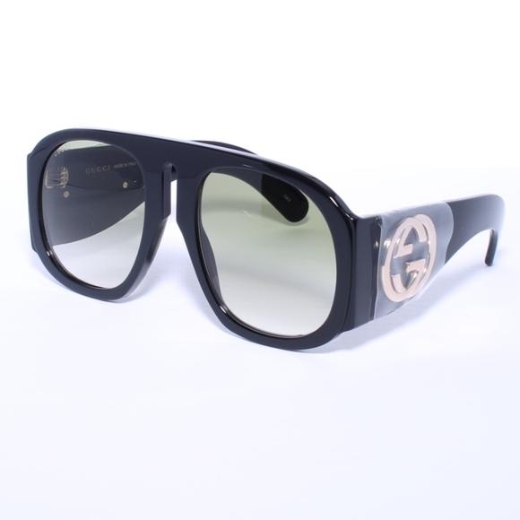 ed338d89f2 GUCCI GG0152S 002 BLACK GREEN Sunglasses