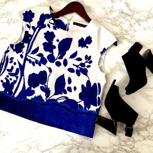 zara • cobalt blue + white floral structured crop
