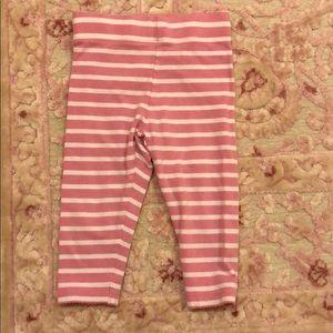 Mini Boden pink and white striped leggings