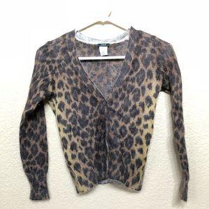 Leopard print v neck j crew cardigan