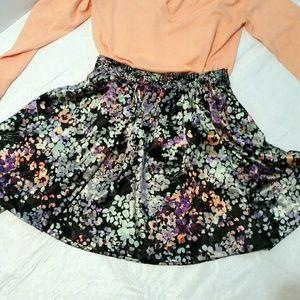 H&M silky floral skater skirt