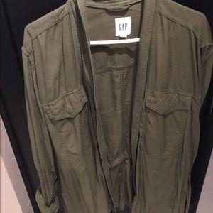Gap Large Tall Olive Green Tie at Waist Jacket