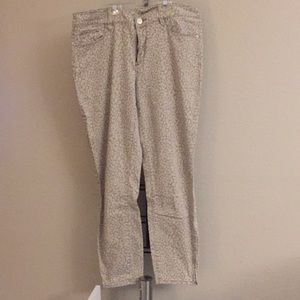 Gray leopard print ankle jeans from LOFT