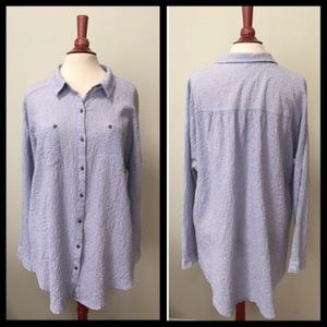 Free People Oversized Gingham Button Down Top