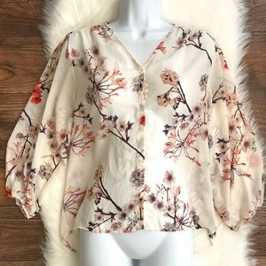 H&M Floral Popover Sheer Blouse Size 2