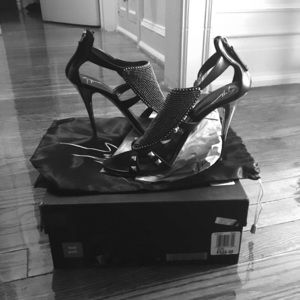 Giuseppe Zanotti black beaded stiletto sandal 8 38