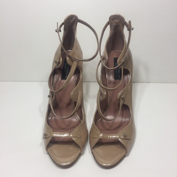 e4595b5f132 L.K. Bennett Patent Strappy Nude Heels