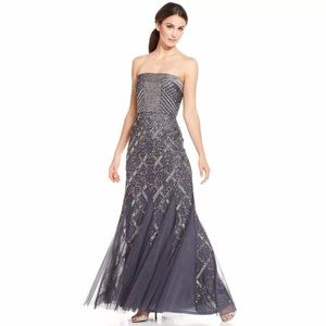 Adrianna Papell designer beaded gown new 12/14