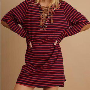 Lace up detail t-shirt dress
