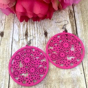 Hot Pink Flower/Floral/Daisy Wooden Round Earrings