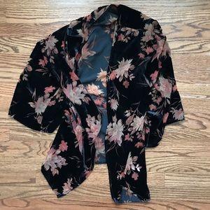Forever 21 Contemporary Black Velvet Floral Kimono