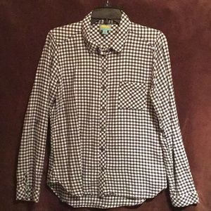 Tops - Navy/White Gingham Button Down Top