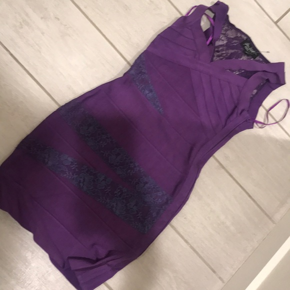 Dresses - Purple bandage dress XS