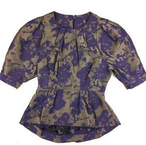 NWT ASOS Purple & Gold Puff Sleeve Peplum Blouse