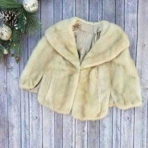 🎉Vintage 100% Mink Fur Coat Shrug Silk Lined🎉